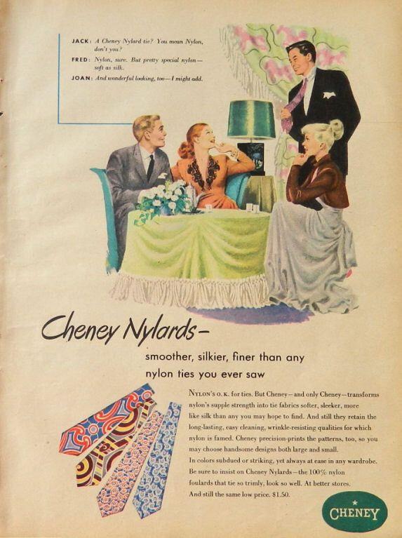 Men\'s Tie Fashion ad - necktie style, 1940\'s male clothing, Cheney ...