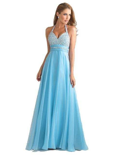 Cute light blue prom dresses under $100 dollars - beaded halter ...