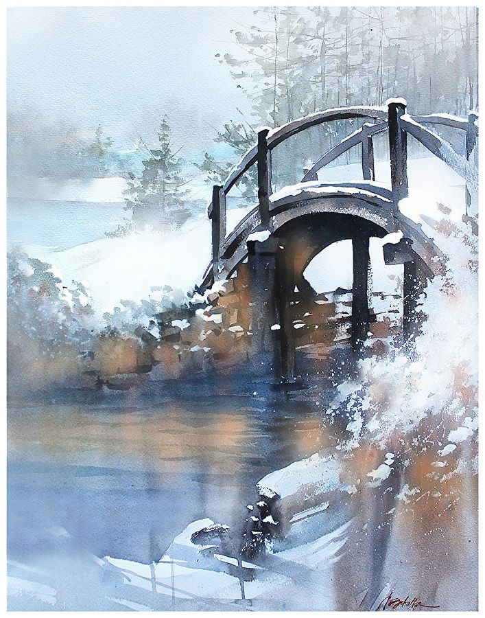 Winter Bridge - Ohio by Thomas W. Schaller Watercolor ~ 30 inches x 22 imches