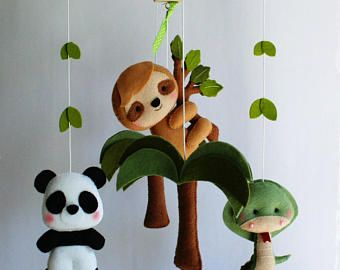 Ready To Ship Baby Crib Mobile Cot Jungle Animals Bedding Nursery Decor Sloth Panda Snake Palm Tree 7