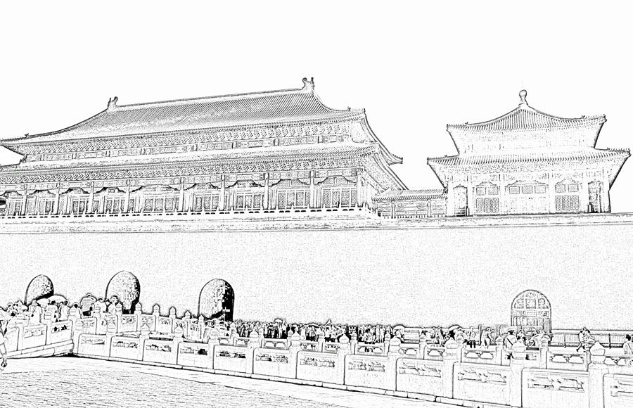 Ancient Chinese Architecture Drawing And Palace Sketch