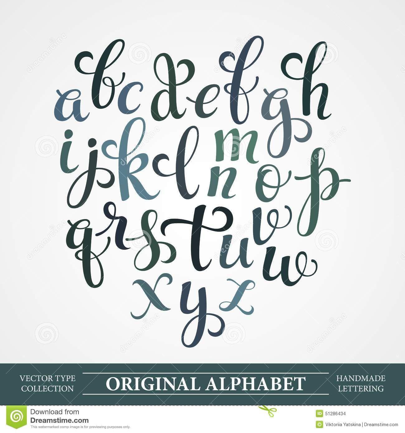 El alfabeto original hechos a mano letras de vector