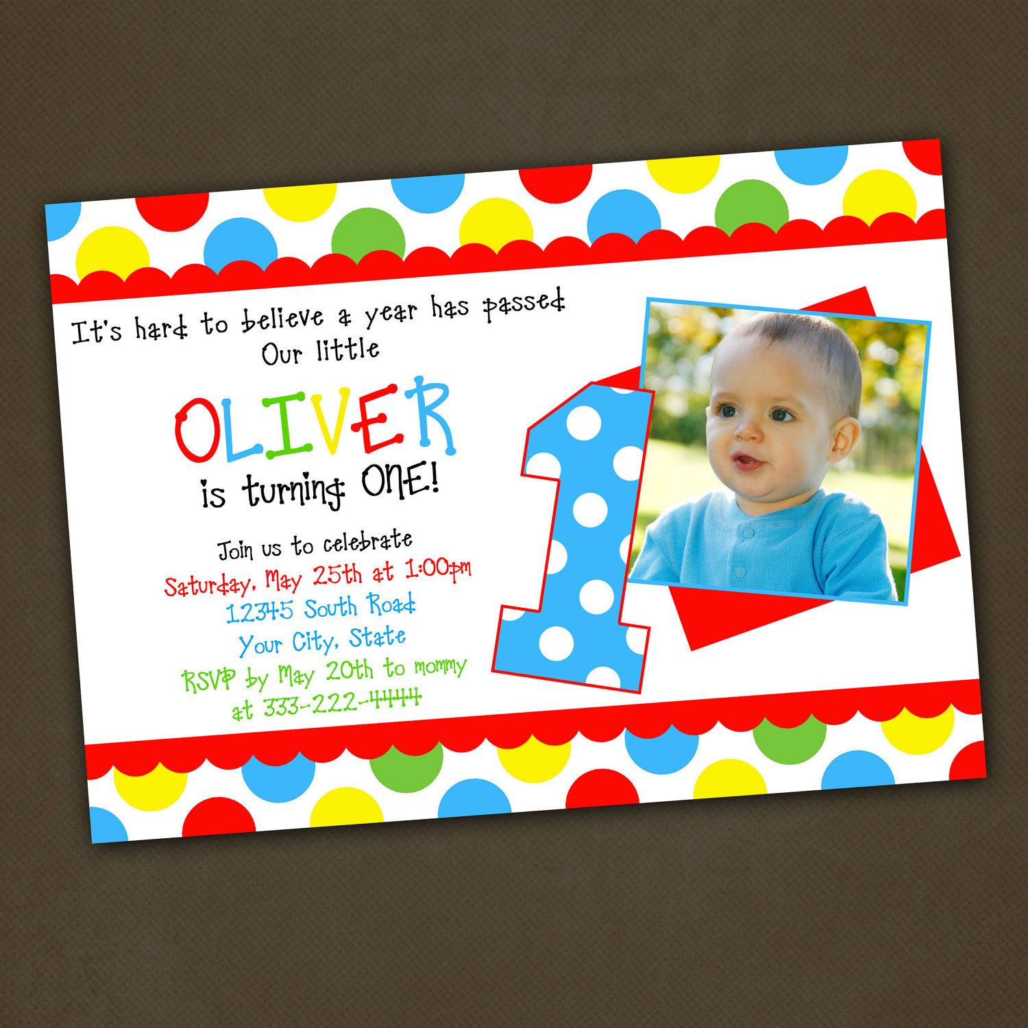 Polka Dots Primary Colors Birthday Party Invitations Printable ...