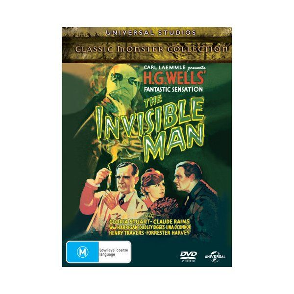 Product: The Invisible Man [DVD] Based on: The novel by H.G. Wells Format: DVD Catalogue No: 9032779 Studio: Universal Certification: PG Release Date: 2002-10-09 Region: Region 2,4 Duration: 68 minutes Discs: 1 disc(s) Produced (year): 1933 Colour: B/W Extras: Language(s): English|Hard of Hearing Subtitles: English|Subtitles: English, Arabic, Czech, Greek, Hungarian, Turkish, Romanian|Interactive Menu|Scene Access|Screen ratio 1:1.33|Dolby Digital 2.0 Extras: Bonus Footage|Commentary: Rudy Behlm