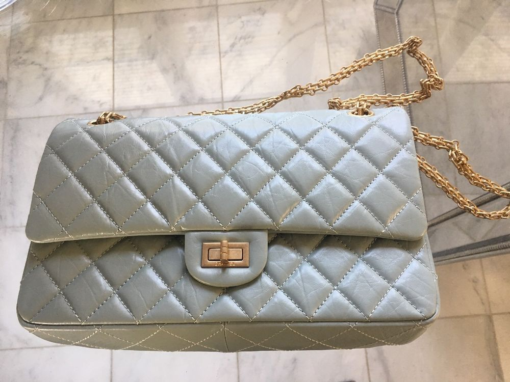ad1d575333e1 Chanel Classic 2.55 Reissue 226 Quilted Medium Mint Green Gold Cha ...
