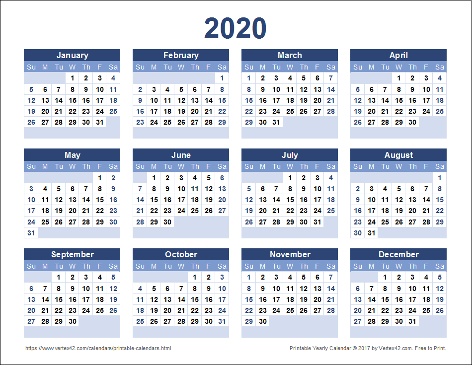 Free Printable Yearly Calendar Templates 2020 Download a free Printable 2020 Yearly Calendar from Vertex42.
