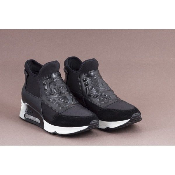 Ash - LASER GOTH Black Leather and Neoprene Trainers (1.405 DKK) ❤ liked on