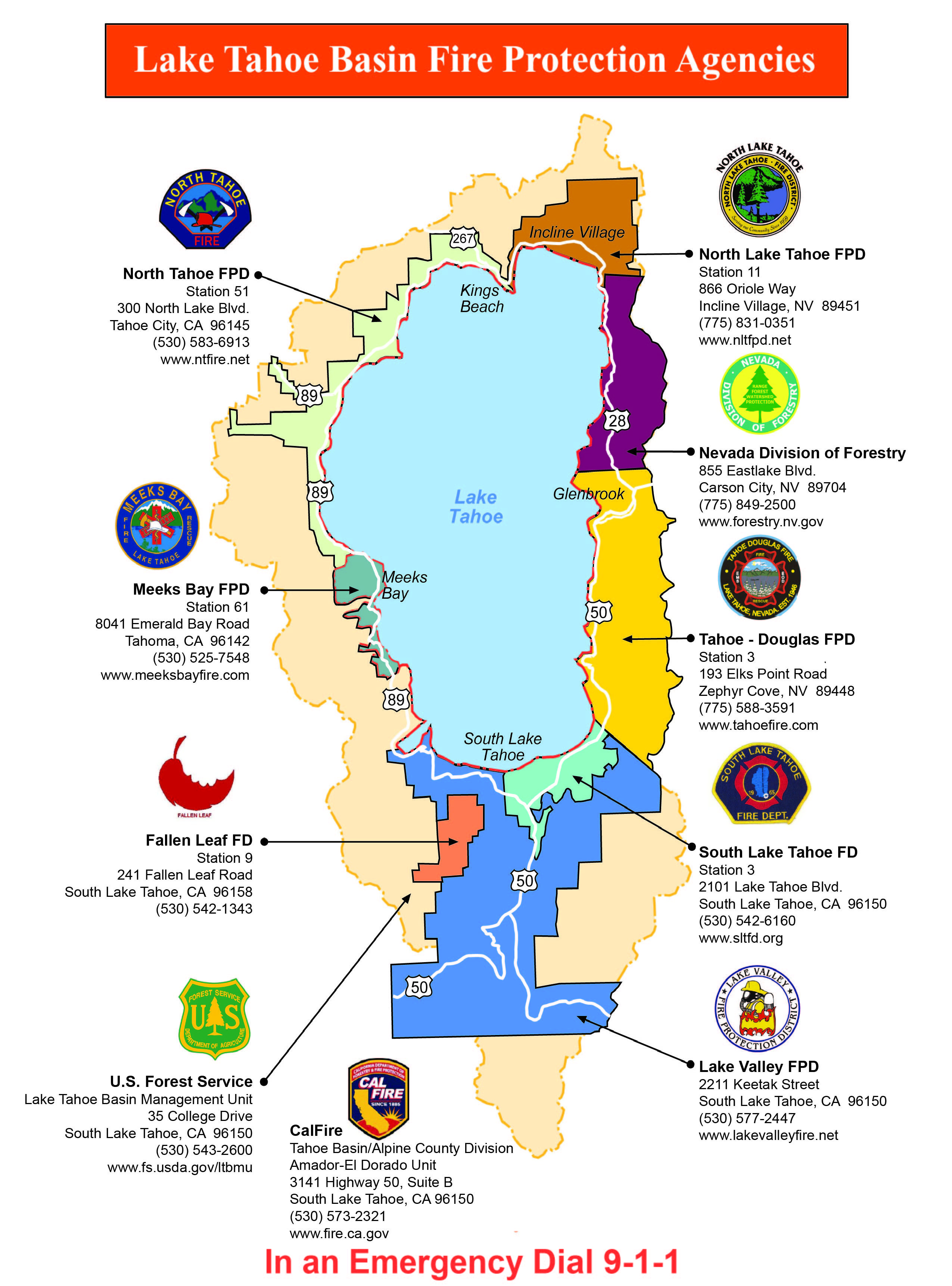Lake Tahoe Fire District Map Defensible Space Resources