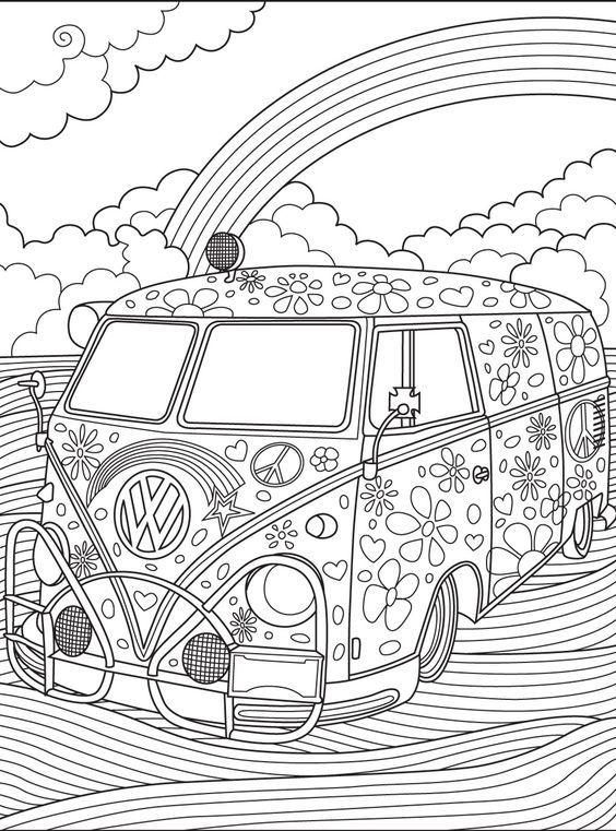 Mikroavtobus Folcvagen Retro Avtomobil Edet Po Polyu Na Fone Radugi Knizhka Raskraska Besplatnye Raskraski Raskraski
