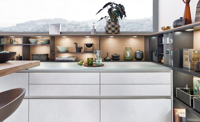 Concrete c wood modern style kitchen kitchen leicht modern