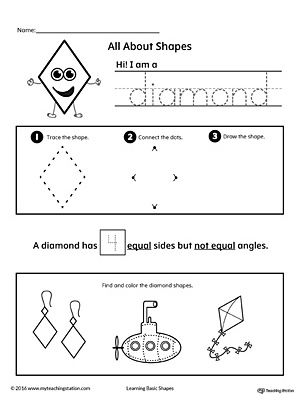 all about diamond shapes worksheetlearn all about the diamond shape in this math printable worksheet practice tracing drawing and coloring pictures of