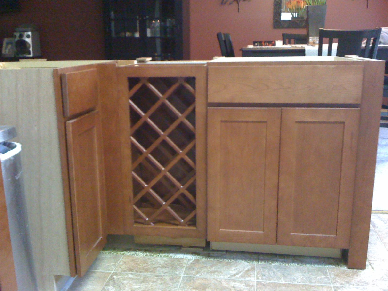 Wine Rack Cabinet In Kitchen Island | Installing 30 Inch Base Wine Rack  Next To Base