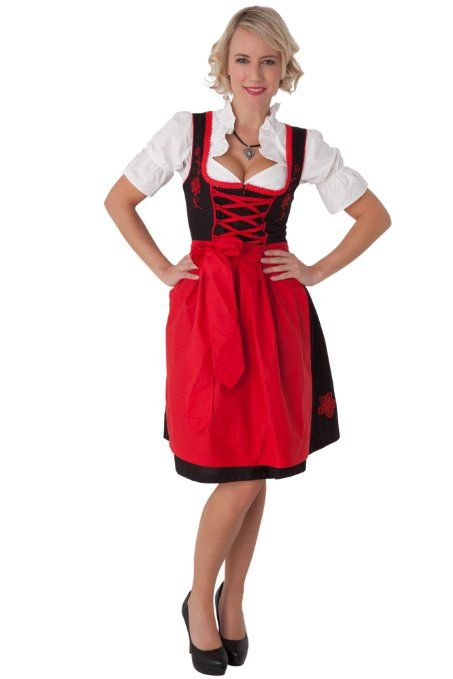a28d18a8a5a44 Amazon.com  Dirndl Womens 3-Piece Black Midi Dirndl with Red Embroidery   Clothing