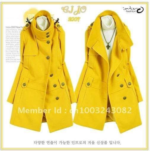 09bb632a8beda Hot Women s Military Style Stand-up Collar Wool Blend Overcoat Long ...