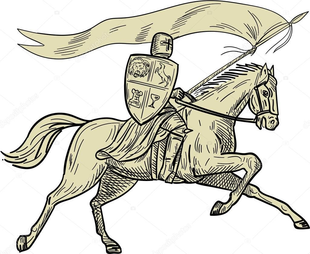 Pobieraj Kon Rycerz Shield Lance Flaga Rysunku Ilustracja Stockowa Cavalieri Disegni Patrimonio