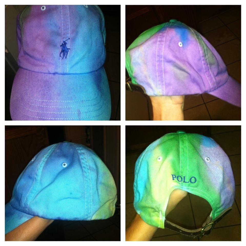 d2359a9c Tie Dyed a White polo hat I don't know if I could do this   craft ...