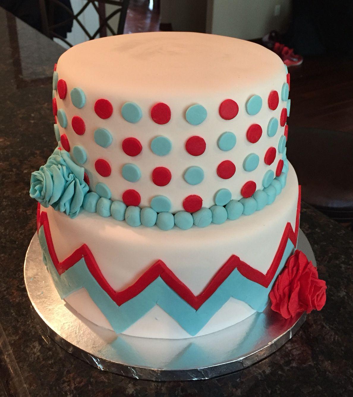 40th birthday dots and chevrons cake chevron cakes