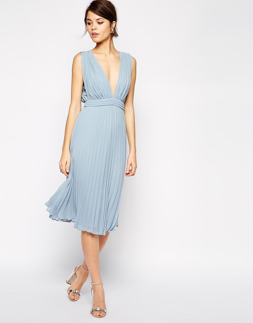 Asos wedding guest dress midi  Enlarge ASOS Pleated Midi Dress With Plunge Neck   style