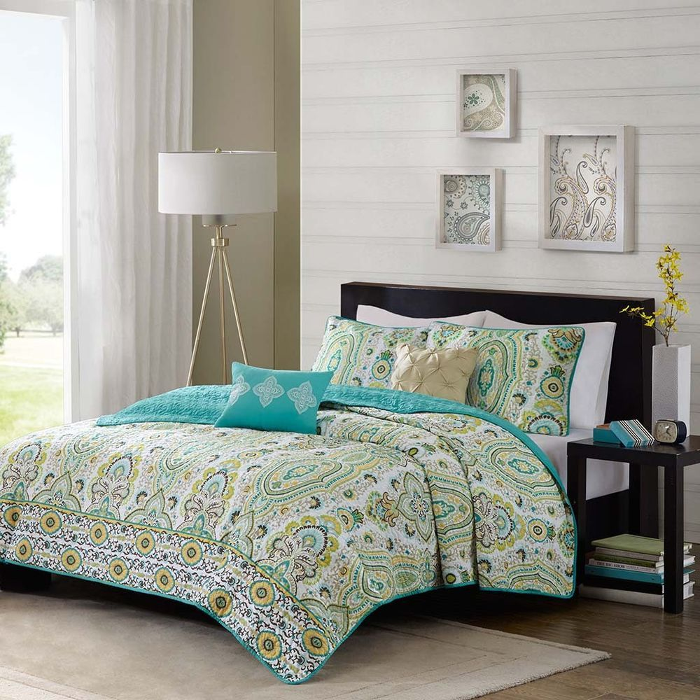 5pc Full Queen Teal Yellow Coverlet Set Quilted Boho Bedding Shams