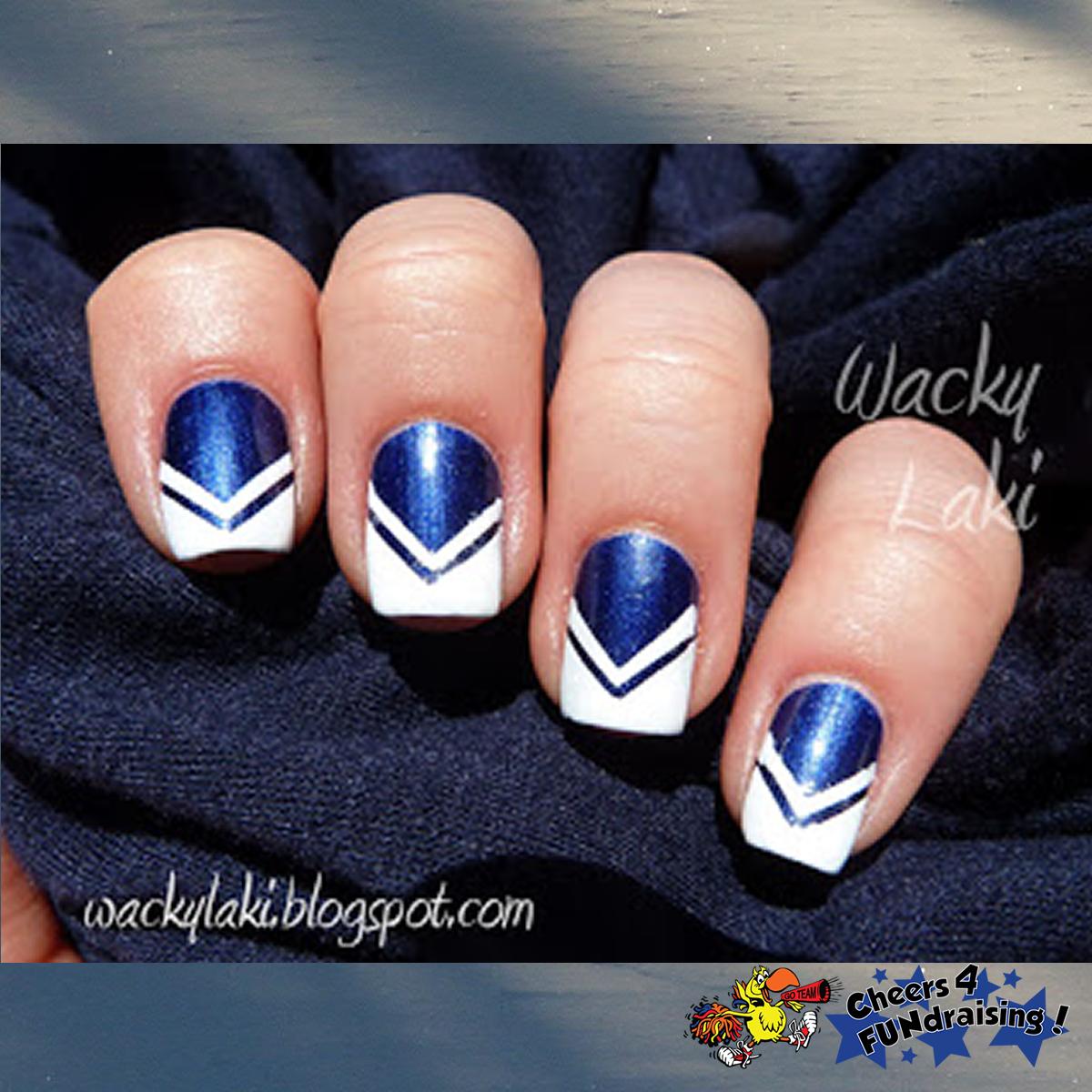 Love This Cute Cheerleader Nail Design From Blogspots Wacky Laki