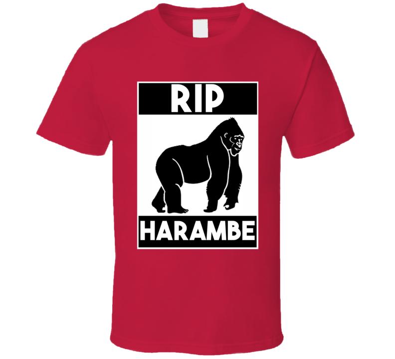 Rip Harambe Cincinnati Zoo Gorilla White Bold Font Memorial T