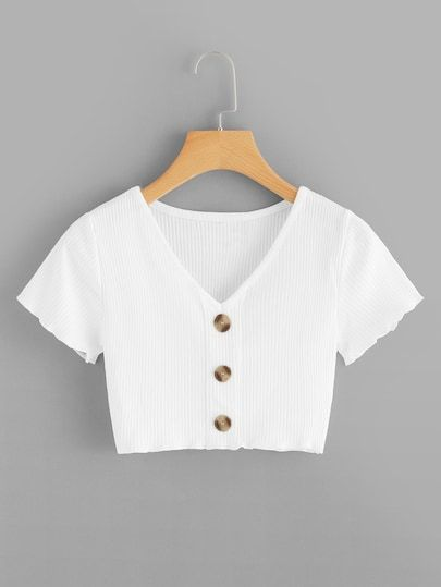 Button Front Ribbed Crop Top