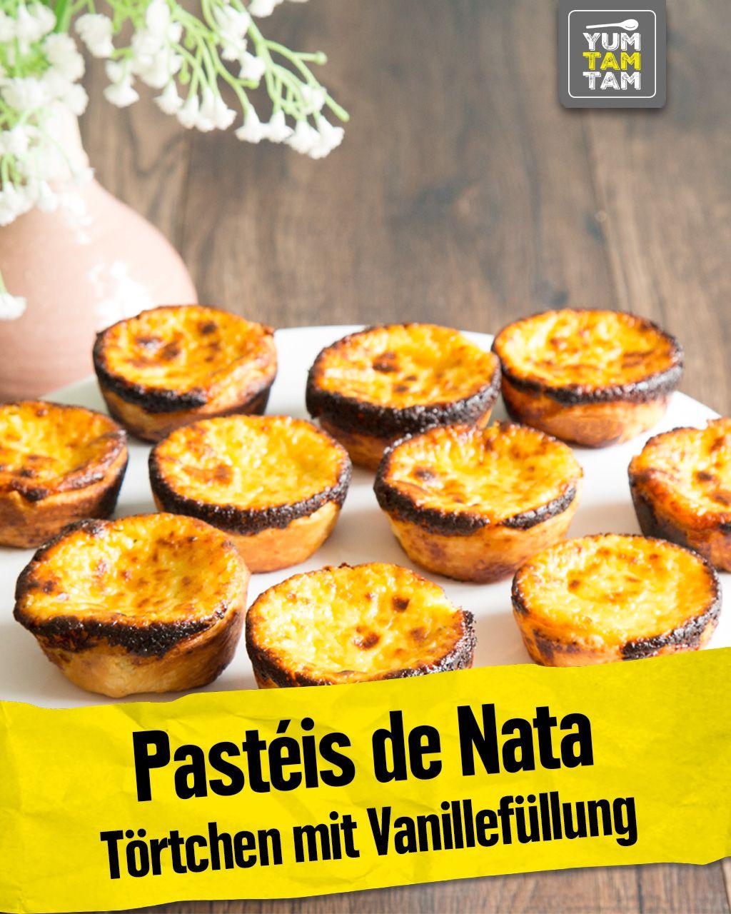 Pastéis de Nata Törtchen mit Vanillefüllung