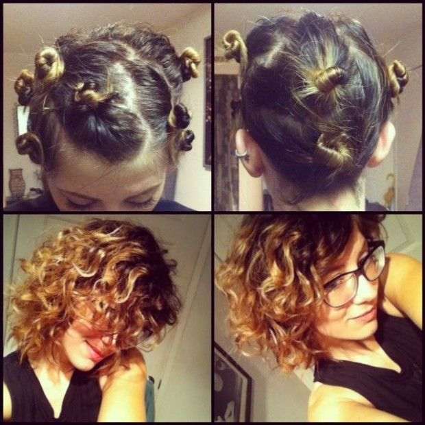 Best Hairstyle To Sleep In For Curly Hair In 2020 How To Curl Short Hair Curl Hair Overnight Overnight Hairstyles