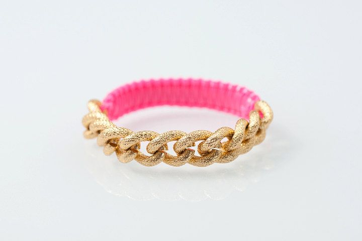 Hot Pink Golden Chain- Golden Cobra bfrend bracelet PRE ORDER. $44.00, via Etsy.