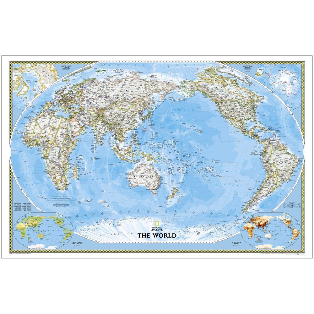 Geographic Map Of Earth.World Classic Pacific Centered Map Enlarged And Laminated