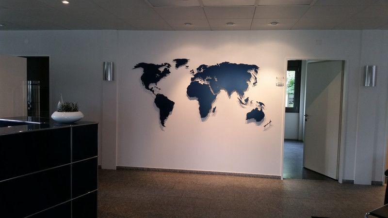 Ideal Wanddeko Weltkarte aus Metall ein Designerst ck von MaximGlueck bei DaWanda
