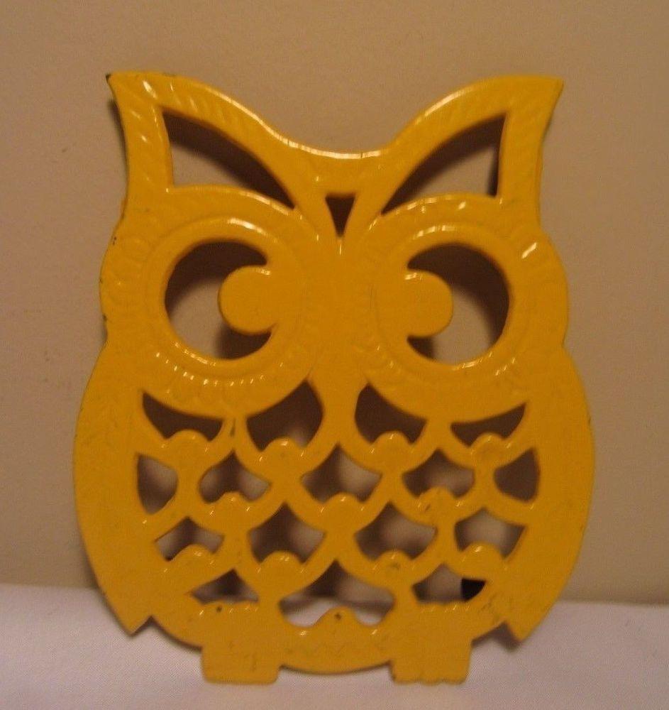 Vintage us yellow painted metal owl trivet rustic kitchen decor