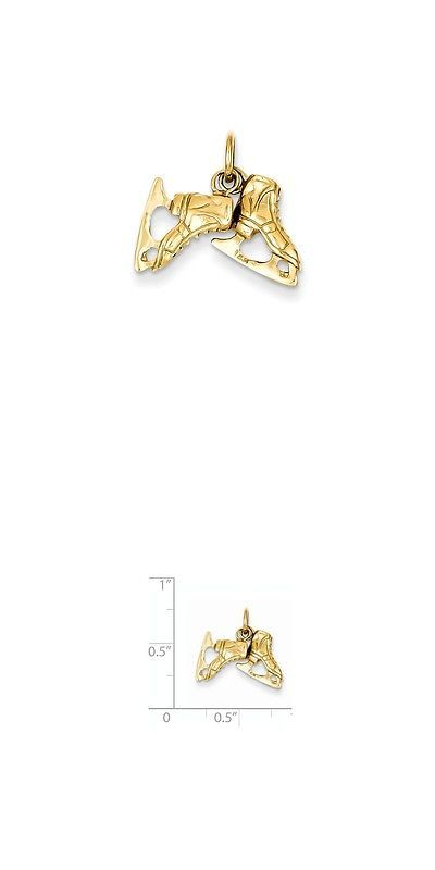 Charms and Charm Bracelets 52562: 14K Gold Pair Of Ice Skates Charm Pendant (0.59 In X 0.67 In) BUY IT NOW ONLY: $112.52