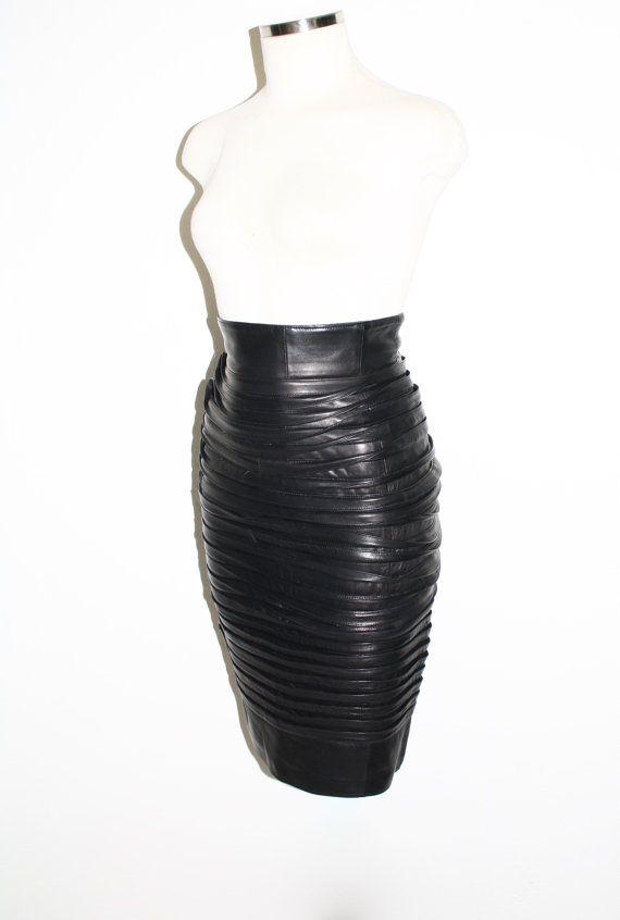 ca16b802 GIANNI VERSACE Vintage Black Leather Skirt Layered Ruffle Wiggle ...