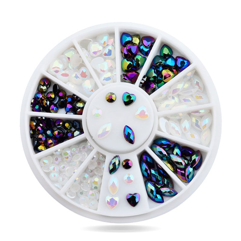 Nail Art Rhinestone Wheel Glitter Acrylic Mixed Tips