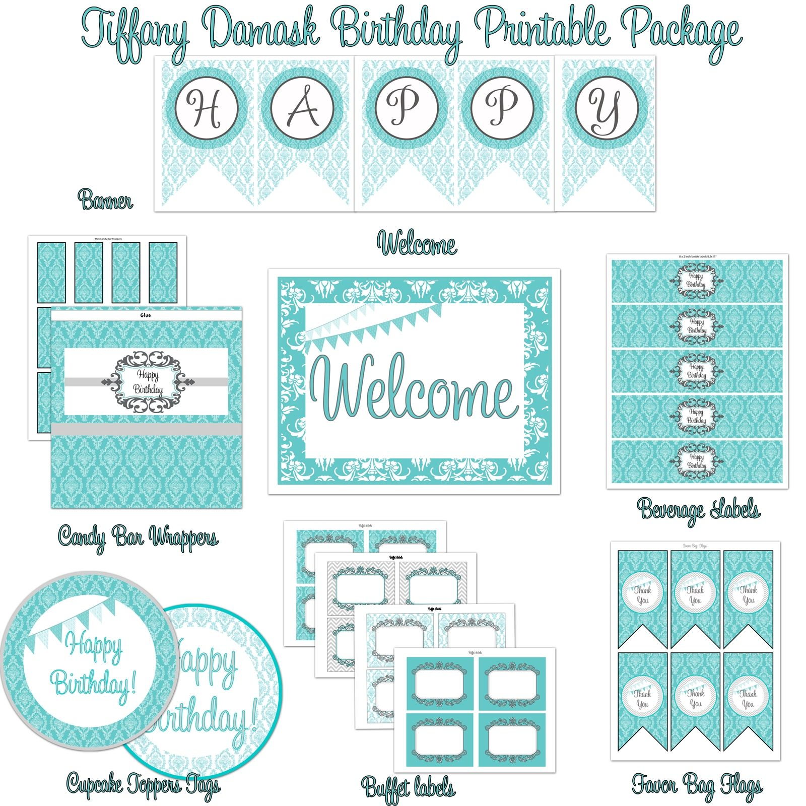 Damask Tiffany Blue Amp Silver Birthday Party Printable