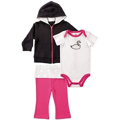 b54aac036 Yoga Sprout Baby-Girls Swan Collection Hoodie Bodysuit and Pant Set ...