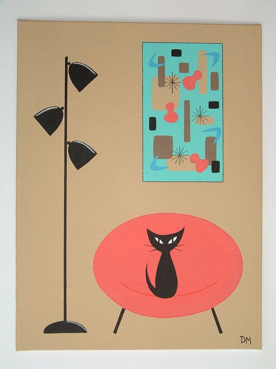 Mid Century Modern Painting Chair Cat Retro by donnamibus on Etsy ...