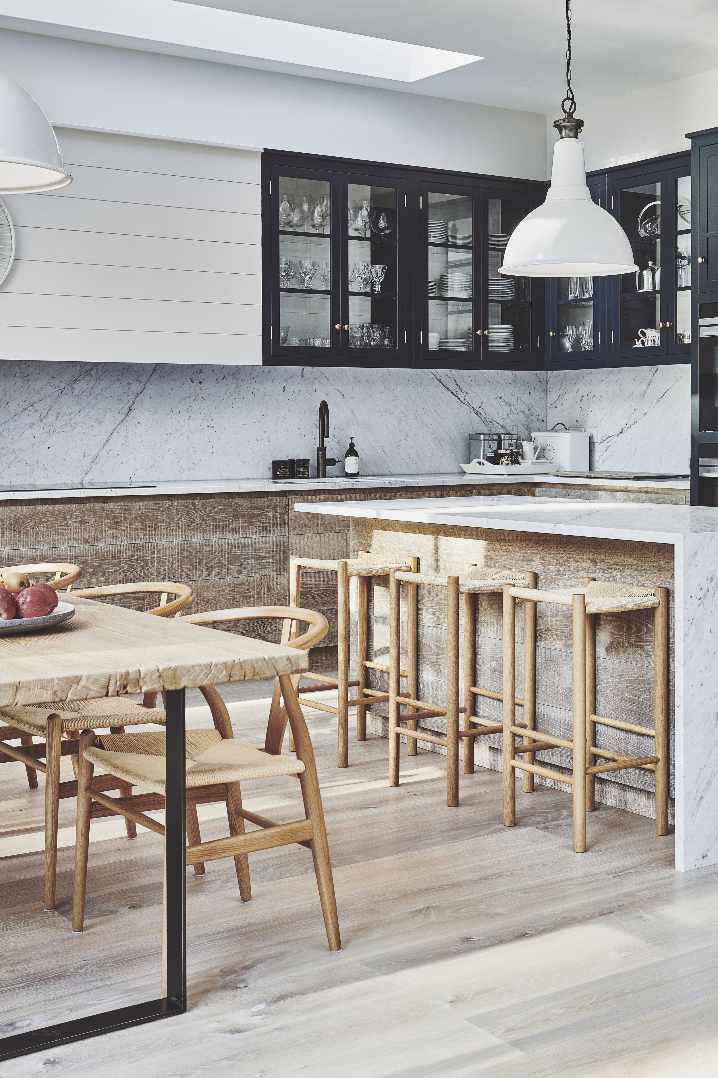 Interior Design Open Kitchen: Wood, Black And Marble Open Plan Kitchen Diner In 2019