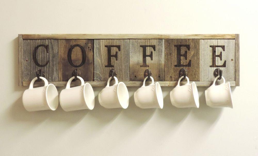 Primitive 6 Hook Barnwood Coffee Mug Rack Cup Holder Wall Mounted Handcrafted Unbranded Coffee Cup Holder Handmade Home Decor Coffee Mug Holder