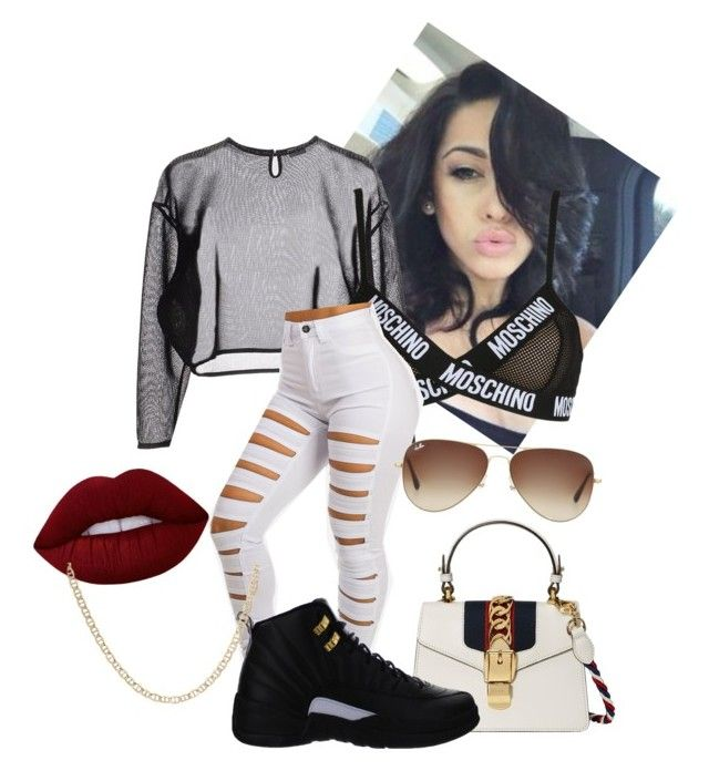 """""""Untitled #115"""" by purple4048 on Polyvore featuring Yves Saint Laurent, Moschino, Lime Crime, Ray-Ban, Gucci and NIKE"""