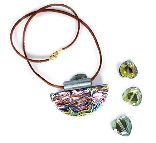 Leenou Handmade Necklace with Half Circle Multicolor Wearable Art Polymer Clay Pendant Suede Lace Cord for Wedding Anniversary Gift Birthday *** Click image to review more details.Note:It is affiliate link to Amazon.