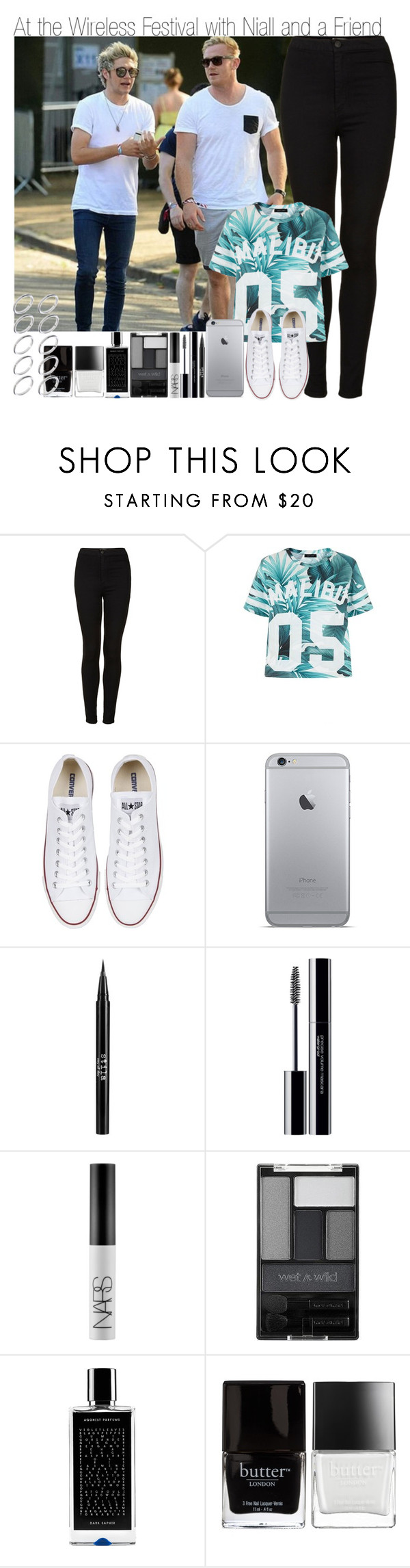 """""""At Wireless Festival with Niall and a Friend"""" by elise-22 ❤ liked on Polyvore featuring Topshop, Converse, Stila, shu uemura, NARS Cosmetics, Wet n Wild, Agonist, Butter London and ASOS"""