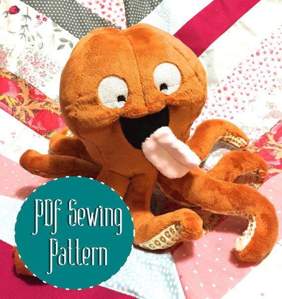 Kraken octopus squid plush pattern stuffed animal sewing PDF ...