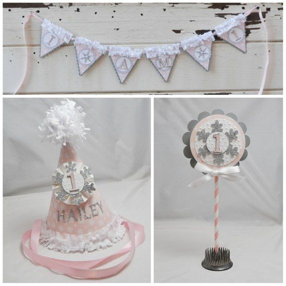 Pink and Silver Snowflake Smash Cake Photo Props, 1st First Birthday Baby Girl, Personalized Party Hat Or Crown, High chair Banner, Topper