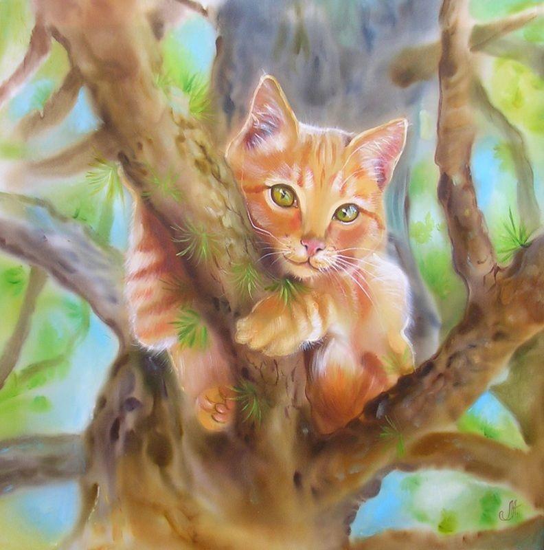 Картинка кошка на дереве для детей