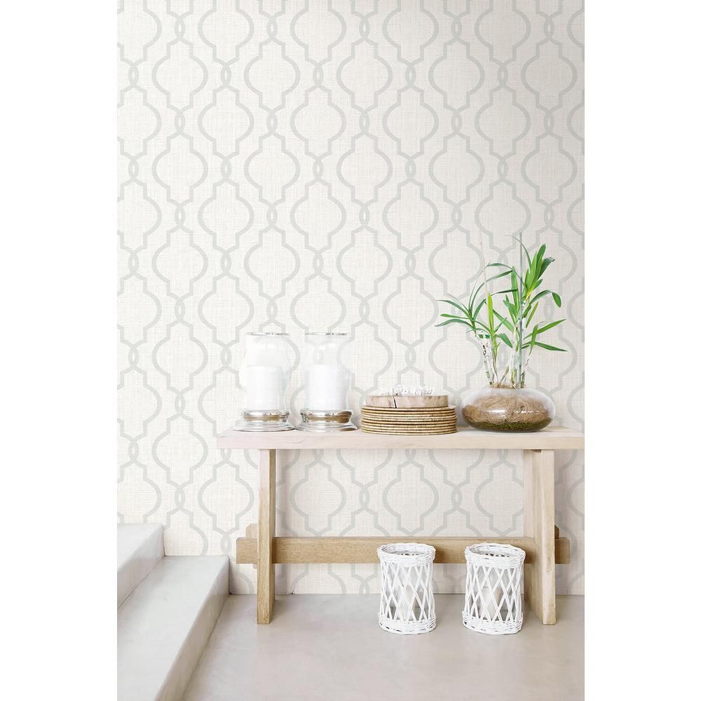 8 In X 10 In Geometric Jute Grey Quatrefoil Wallpaper Sa