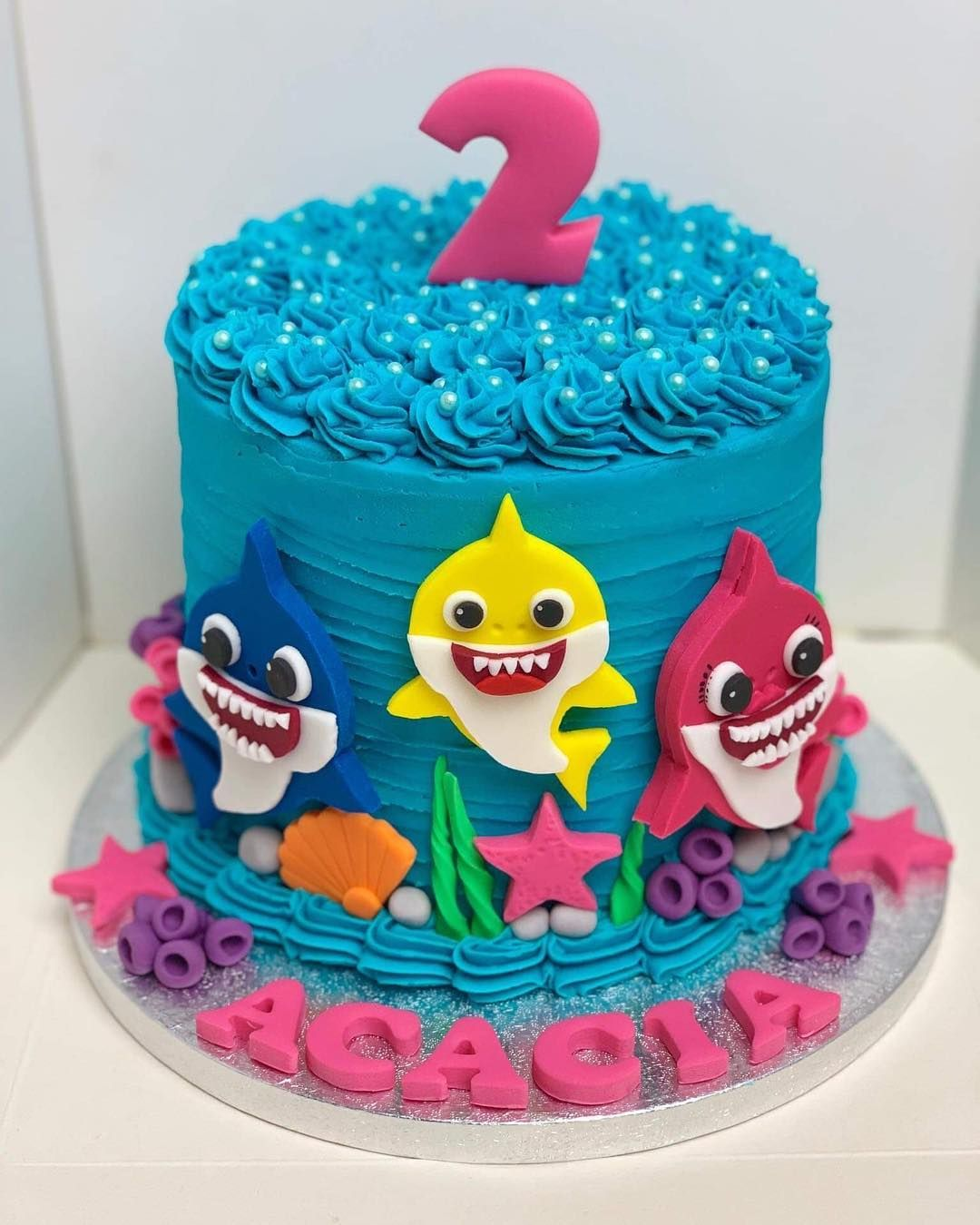 Tremendous Rochelle On Instagram Acacias Baby Shark Birthday Cake Funny Birthday Cards Online Fluifree Goldxyz