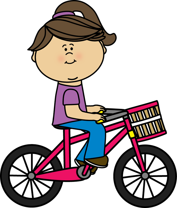 Girl riding a bicycle with a basket | Transportation Clip Art ...
