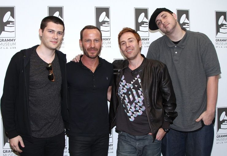 """A meeting of some of the brightest minds in dance/electronica music. André Allen Anjos, KCRW-FM Music Director Jason Bentley, Rupert """"Photek"""" Parkes, and Derek Vincent Smith (aka Pretty Lights) attend The Art Of The Remix at the GRAMMY Museum on Oct. 15 in Los Angeles"""